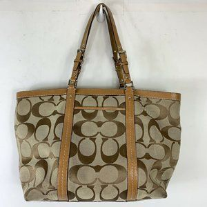 Coach Signature Logo Brown Canvas Shoulder Handbag